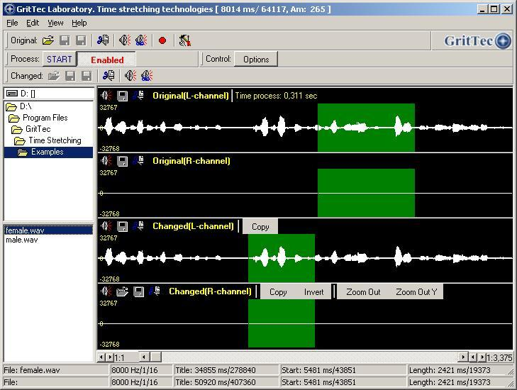Time Stretching Speech & Audio signals Screen shot